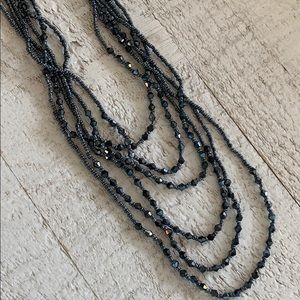 NWOT Multi Layered Grey Bead Necklace